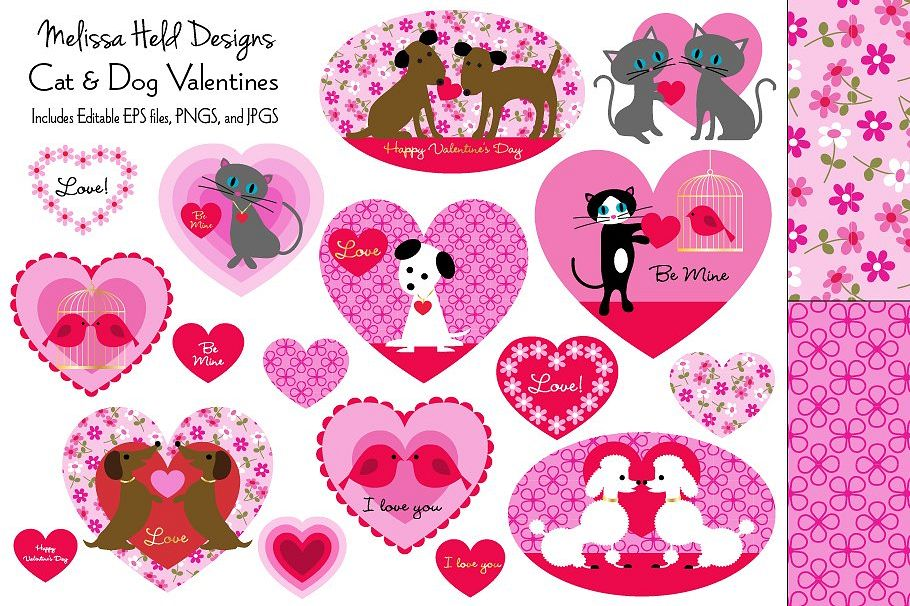 Cat and Dog Valentines Clipart.