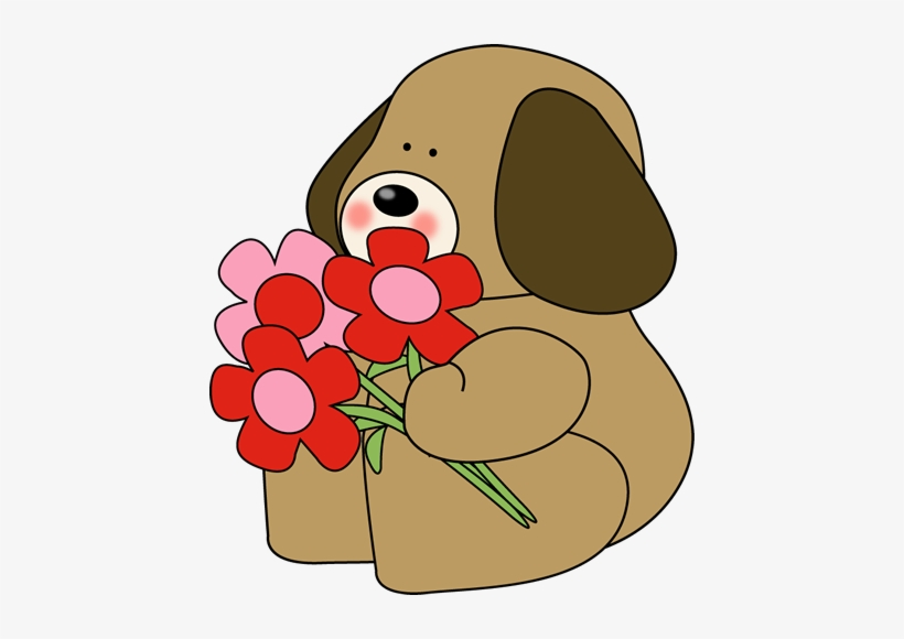 Dog Clipart Flower.