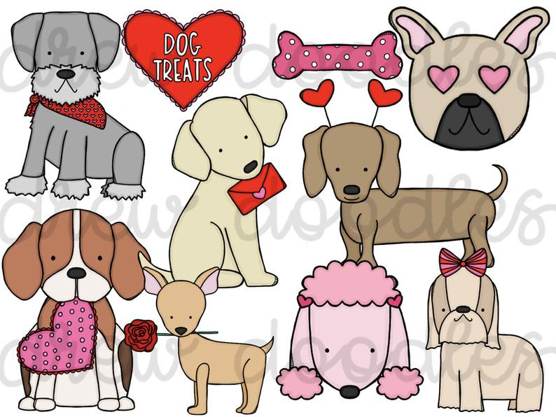 Valentine's Day Dogs Digital Clip Art Set.