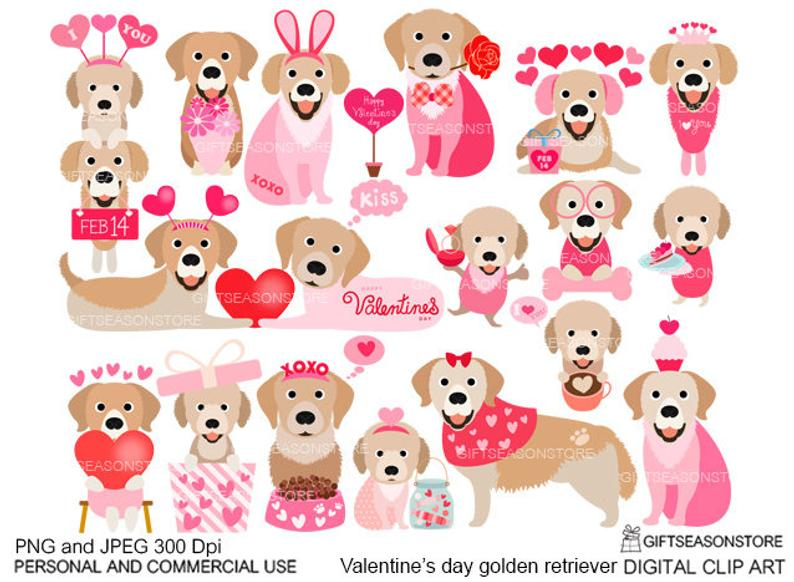 Valentine's day Golden retriever dogs digital clip art for Personal and  Commercial use.