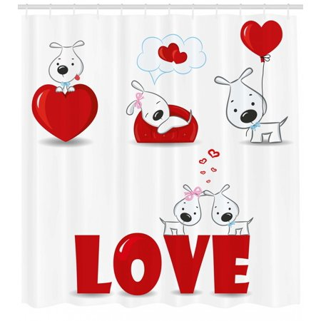 Valentines Day Shower Curtain, Puppy Love with Hearts and Dogs His and Hers  Heart Balloon Romantic Print, Fabric Bathroom Set with Hooks, Red White,.