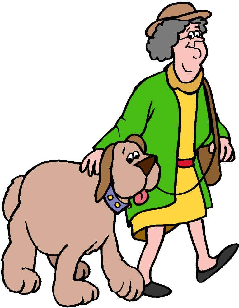Dog and owner on a walk clipart.