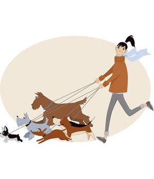 Clip Art of Dog Walker.
