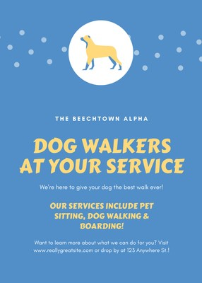Blue and Yellow Animal Logo Dog Walker Flyer.