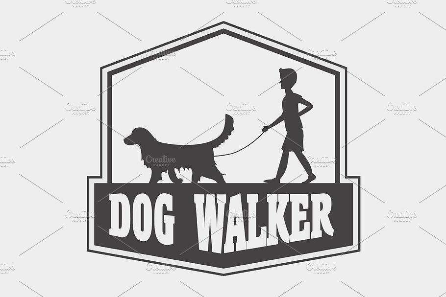 Dog walker logo, label or badge.
