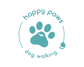Happy Paws Dog Walking Logo Designed by designsbyblythe.