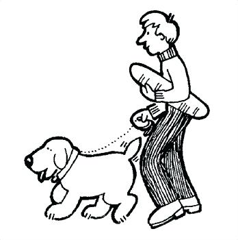 Girl Walking Dog Clipart.