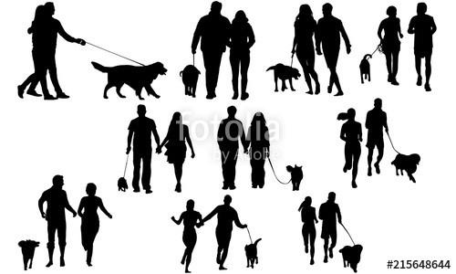 Couples with Dog Silhouette.