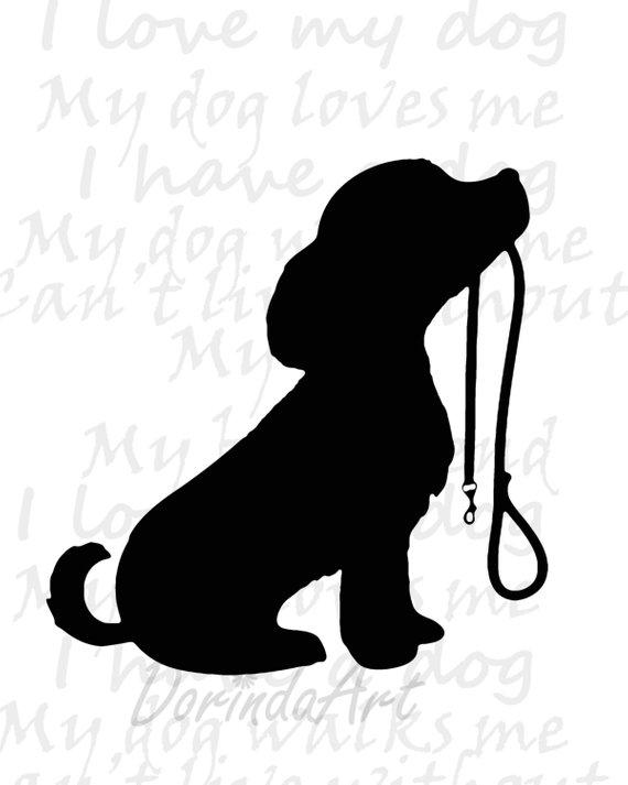 Dog printable Puppy print Dog walking Dog lovers Black white.