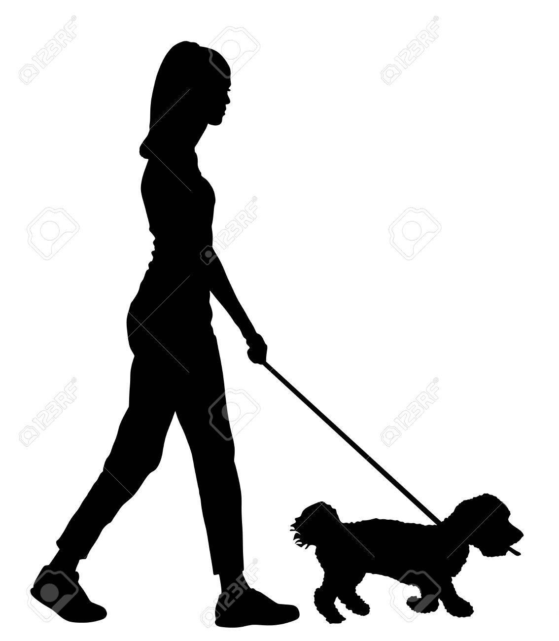 Silhouette Walking Dog.