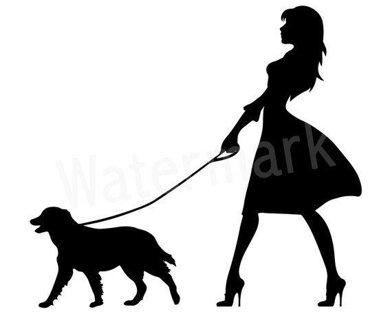 Dog Walker SVG, Woman Walking Dog, Canine SVG, Dog Lover.