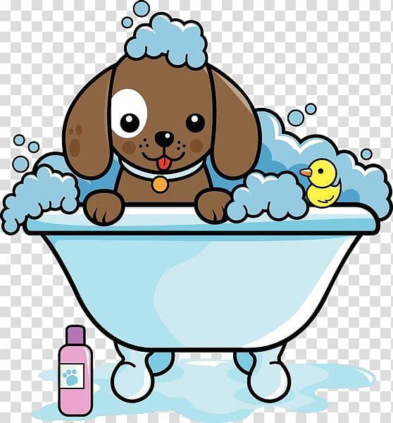 Dog in bathtub illustration, Dog grooming Cat , A puppy.