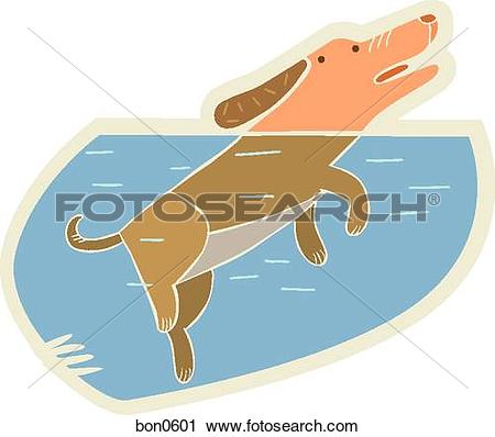 Clipart of A dog treading water bon0601.