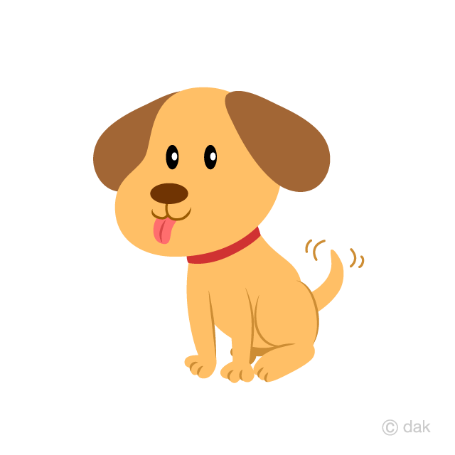 Free Cute Puppy waving a tail Clipart Image|Illustoon.