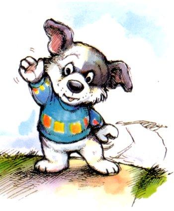 Dog waving goodbye clipart.