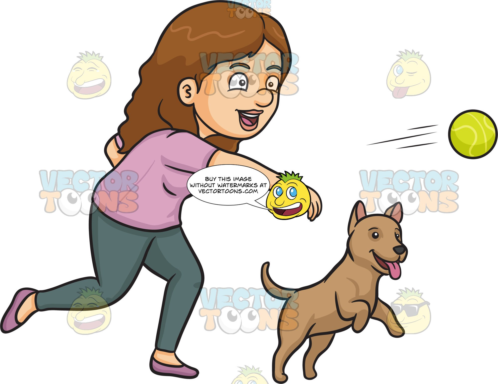A Woman Throwing A Ball For Her Dog.