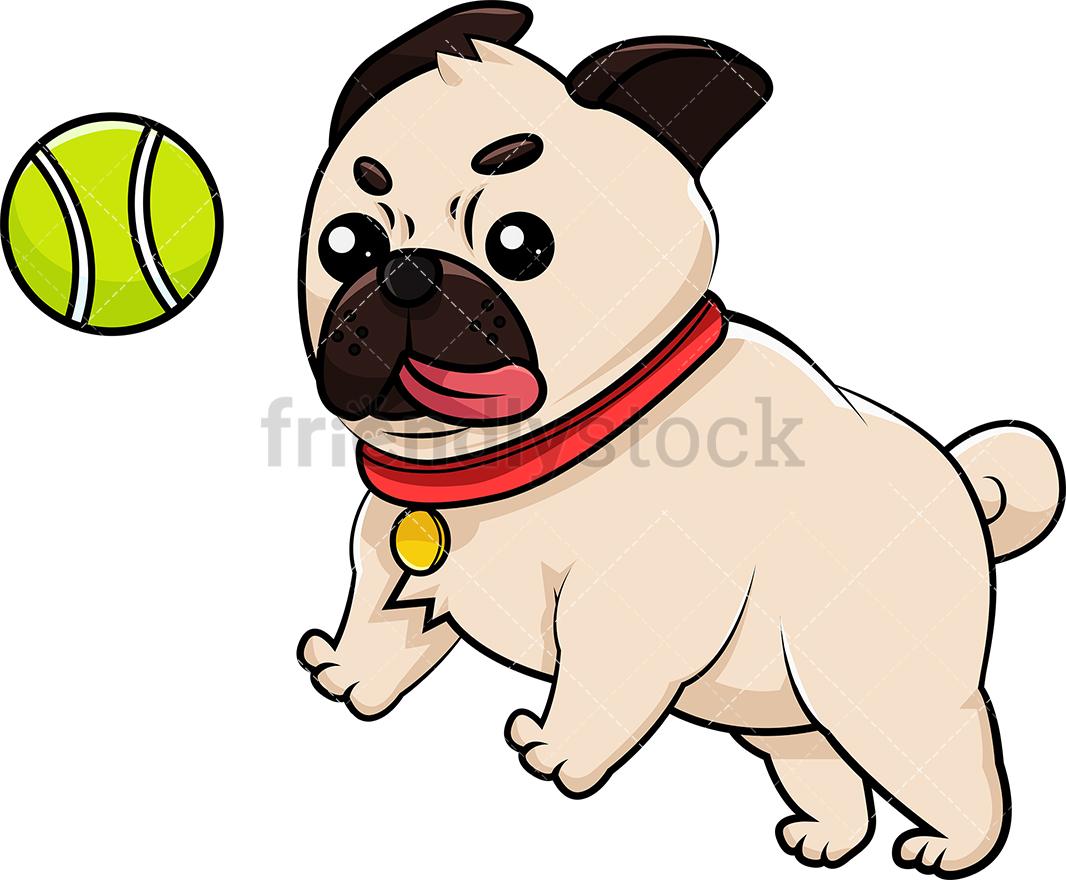 Pug Dog Playing With Tennis Ball.