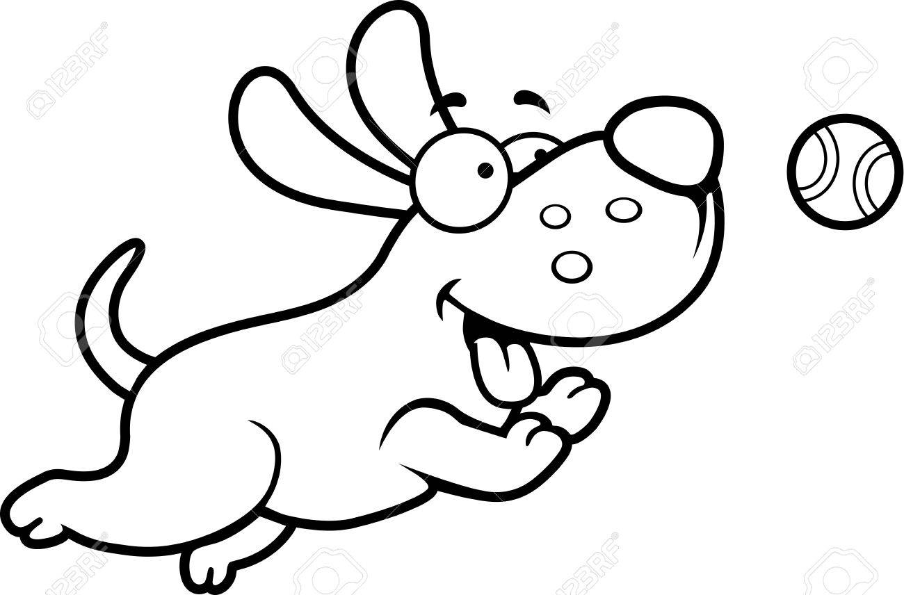 A cartoon illustration of a dog chasing a ball..