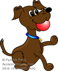 Clip Art Image of a Cartoon Dog With a Ball in His Mouth.