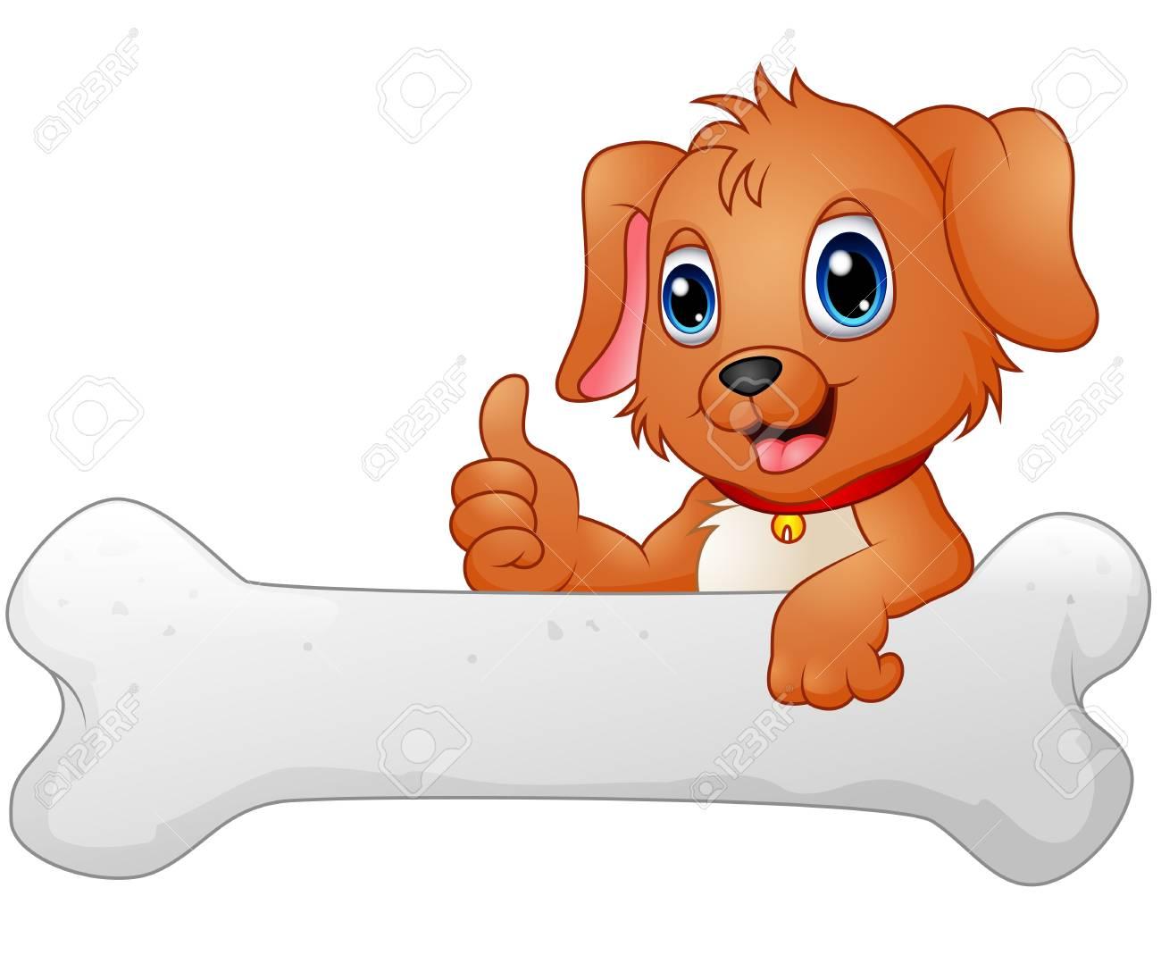 Cute dog with holding bone.