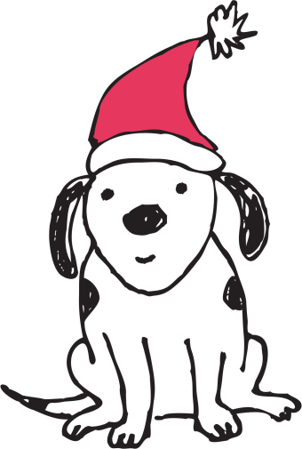 Dog With Santa Hat Clipart.