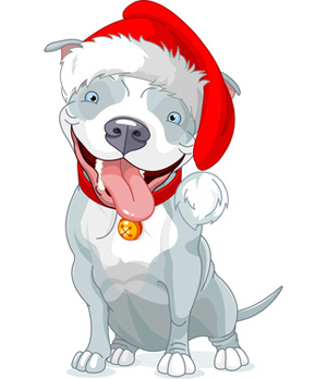 Clip Art of Pit Bull Christmas Dog.