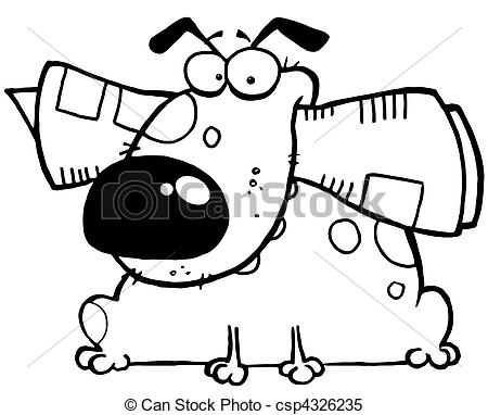 Outlined Dog With Newspaper.