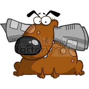 Dog Holds Newspaper in Mouth clipart. Royalty.