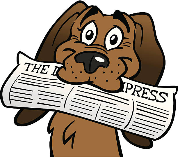 Dog with newspaper clipart » Clipart Station.