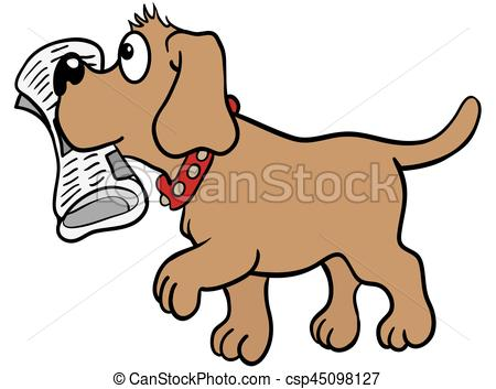 Dog with newspaper clipart 1 » Clipart Station.