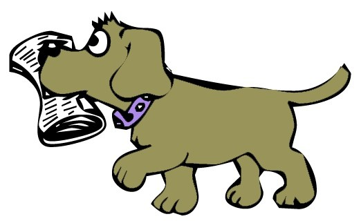 Dog With Newspaper Clipart.
