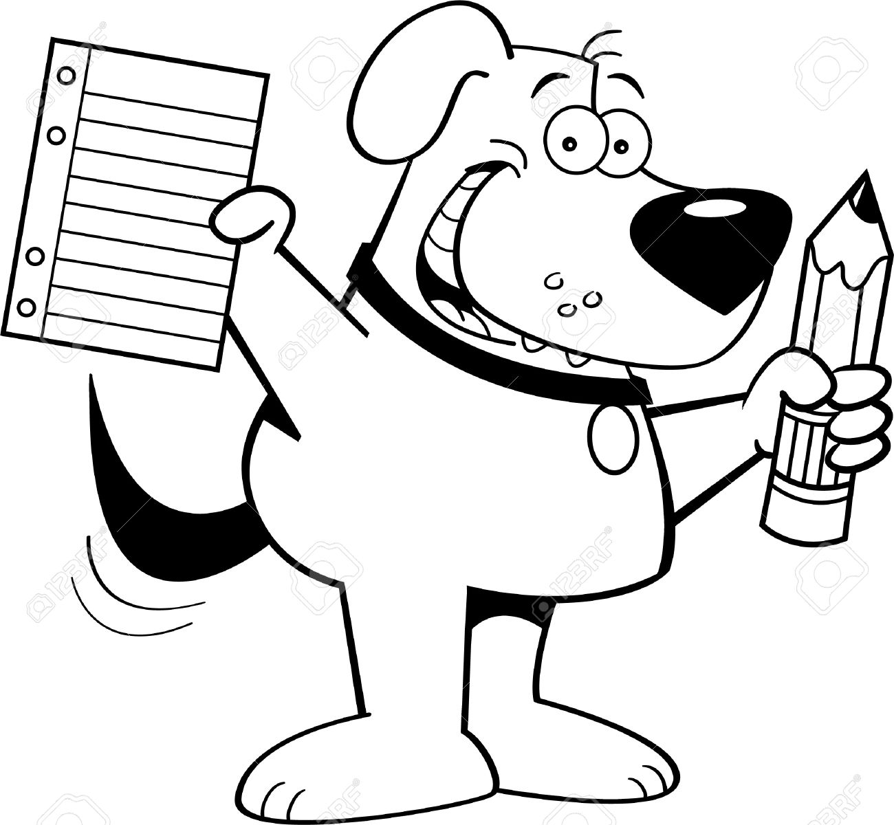 Black And White Illustration Of A Dog Holding A Pencil And Paper.