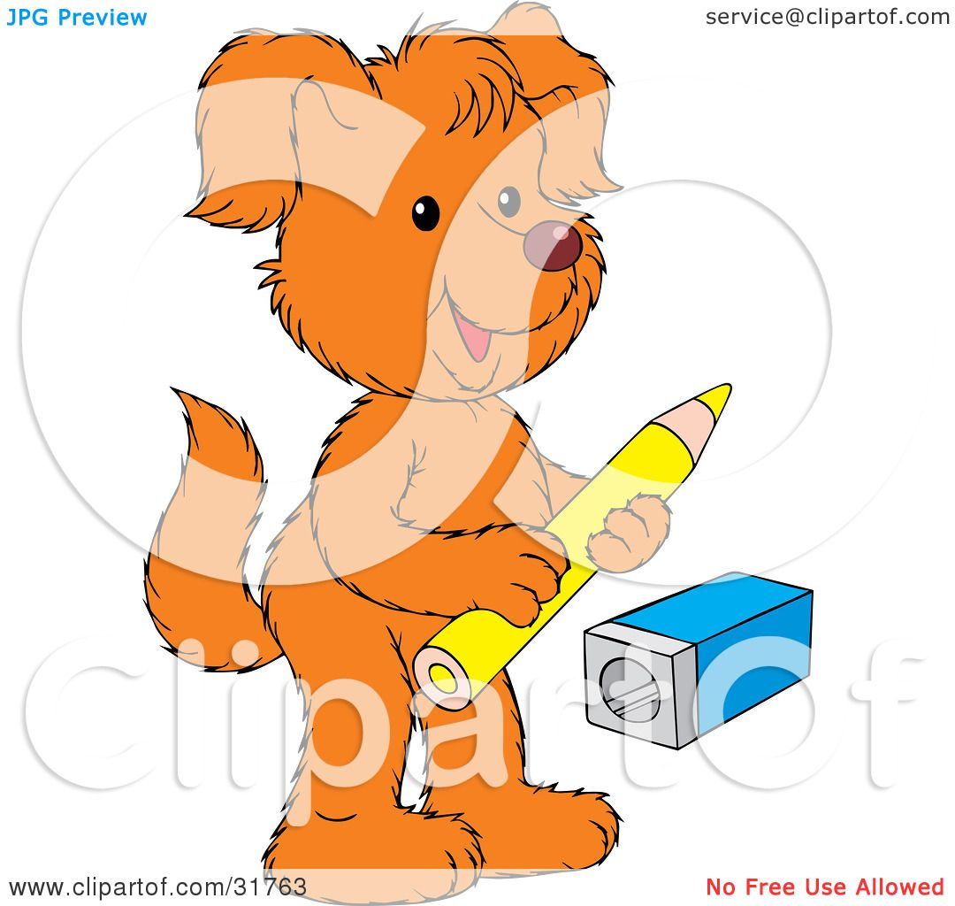 Clipart Illustration of an Orange Dog Standing On Its Hind Legs.