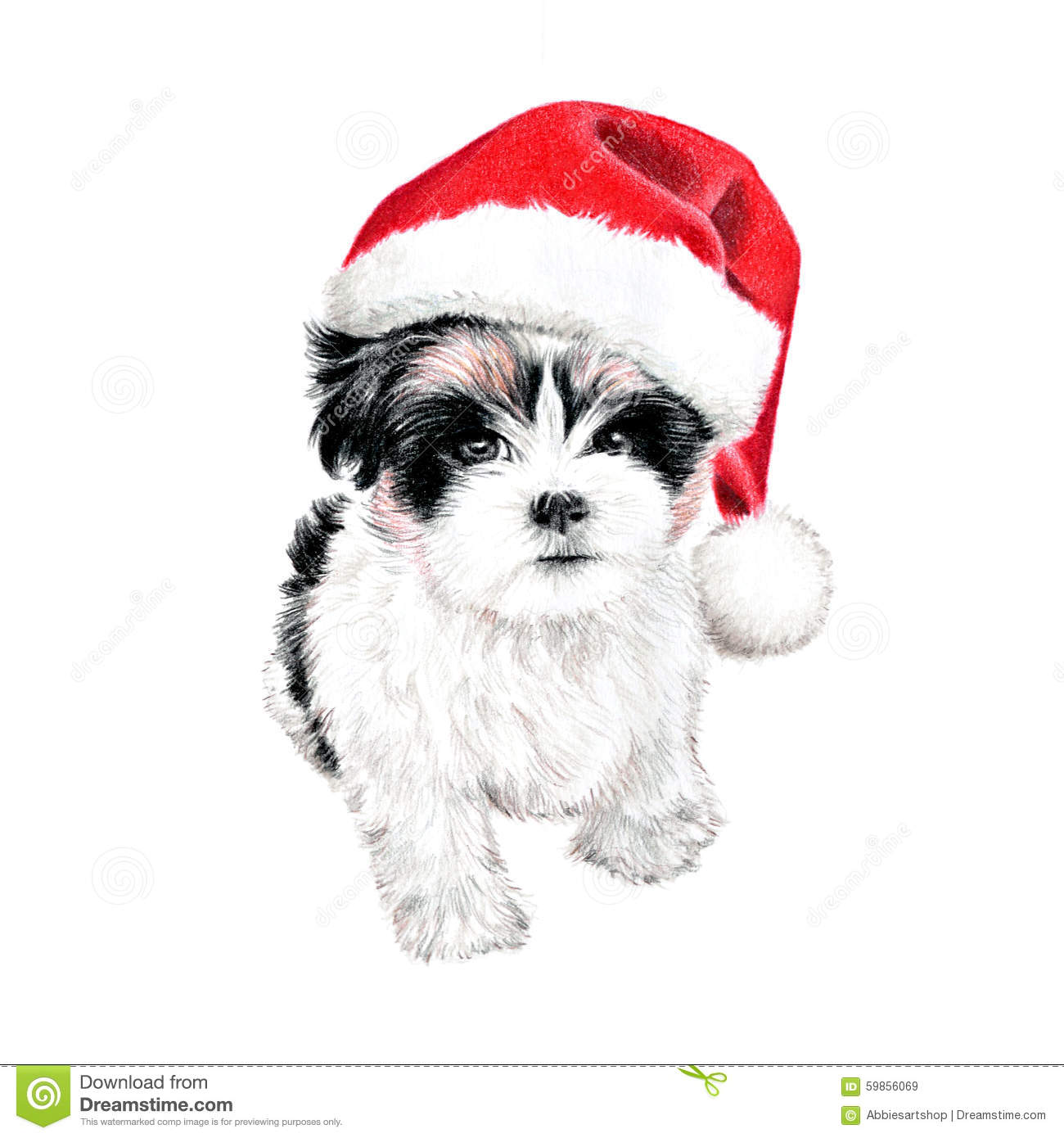 Cute Christmas Puppy Dog With Santa Hat Illustration. Hand Drawn.