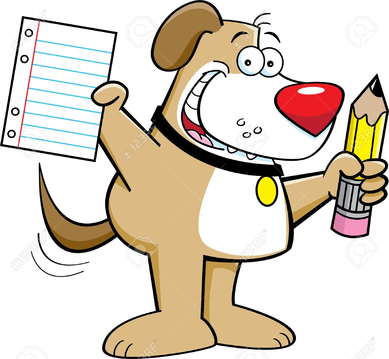 Cartoon Illustration Of A Dog Holding A Pencil And Paper Royalty.