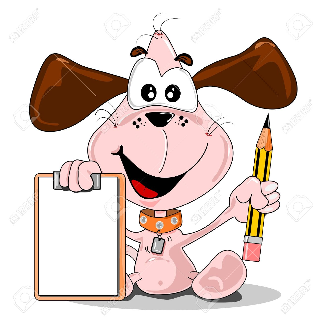 A Cartoon Dog Holding A Pencil & Blank Clip Board With Copy Space.