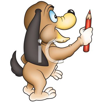 Picture of a Cartoon Dog Holding a Coloured Pencil In a Vector.