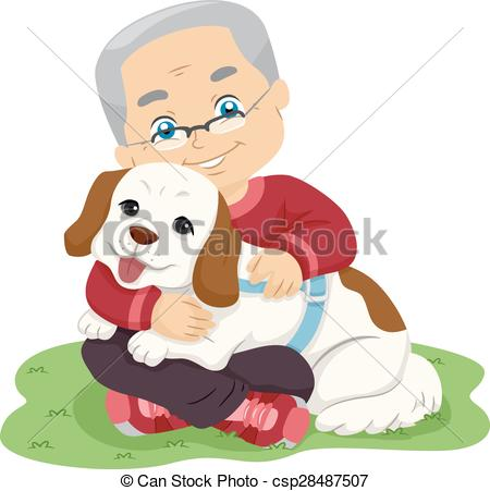 Vector Clipart of Senior Man Hugging Dog.