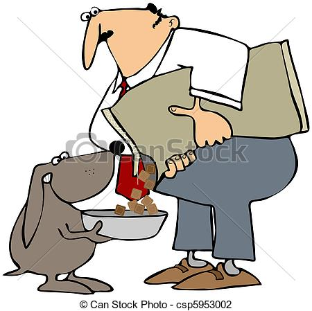 Clip Art of Feeding The Dog.