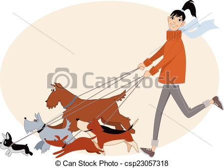 Vector Clip Art of Dog walker.