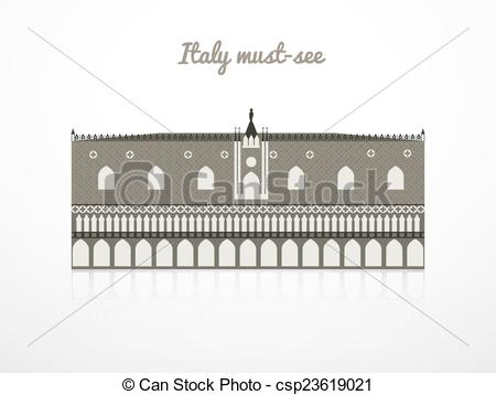 Vector Illustration of Doge's Palace vector illustration, Italy.