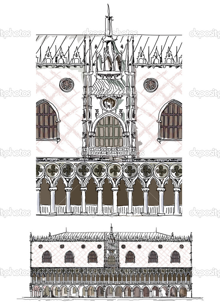 Venice illustration, Doges palace, Sketch collection — Stock.