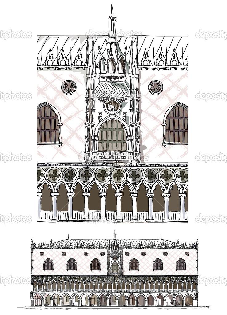 Venice illustration, Doges palace, Sketch collection — Stock.