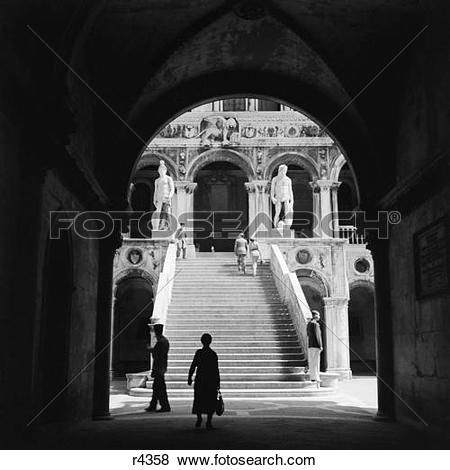 Pictures of 1930S 1940S Venice Italy Doges Palace View Through.