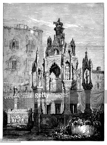 19th Century Engraving of A Courtyard AT Doge's Palace, Venice.