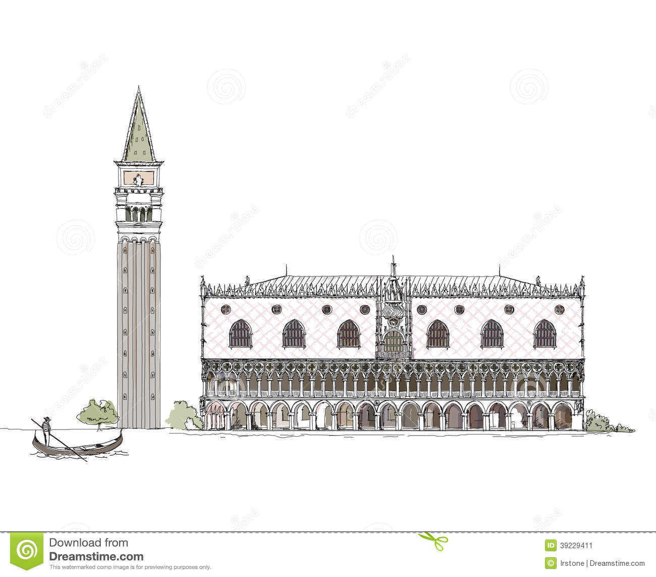 Venice Sketch Collection, Doge's Palace And Town Tower On The.