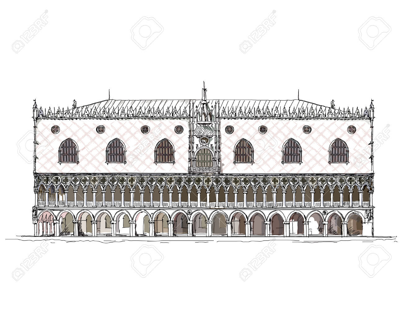 Venice Sketch Collection, Doge Palace Royalty Free Cliparts.