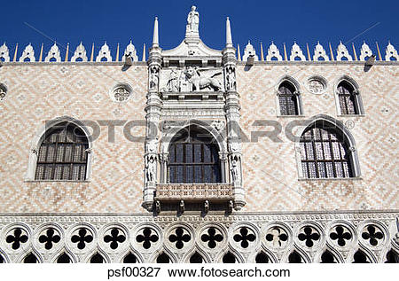 Picture of Italy, Venice, Doge's Palace, Facade, Winged Lion.