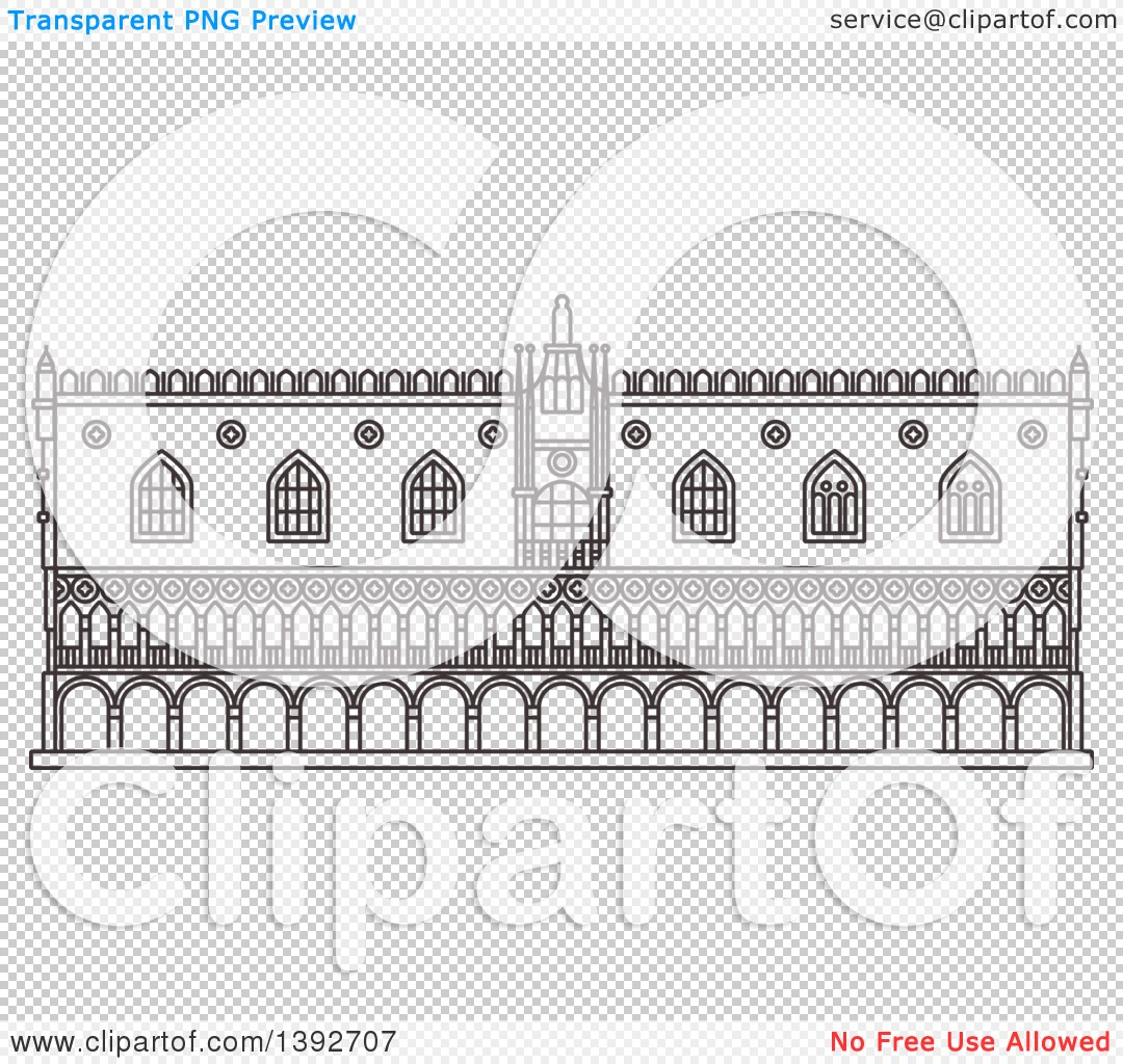 Clipart of a Gray Sketched Travel Landmark of Doges Palace.