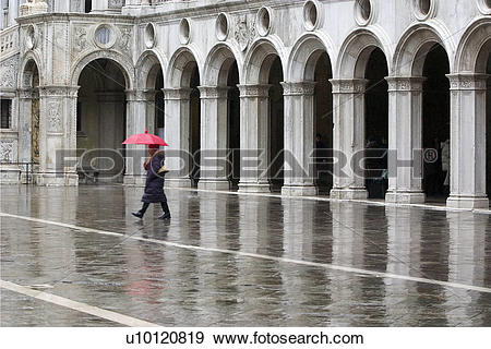 Stock Photograph of Colonnade of inside courtyard of Doges Palace.